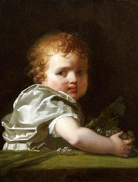 petit enfant tenant une grappe de raisin by marguerite gérard