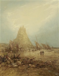 the castle at holy island, northumberland coast by william edward webb