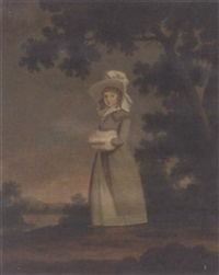 portrait of a young lady in a bonnet and olive dress with a hand-warmer, in an extensive landscape with a lake and manor beyond by lewis (of bath) vaslet