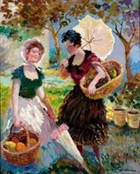 dos mujeres con canastas y parasol by rafael figuera aymerich