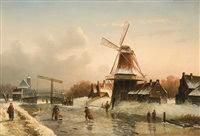 winter evening in holland by cornelis petrus t' hoen