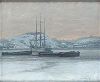 vintervy med skepp by herman lindqvist