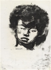 untitled (head of a young woman) by hughie lee-smith