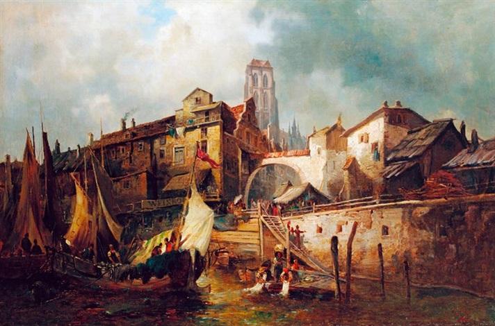 tengerparti város kikötője vitorlásokkal by anonymous german 19