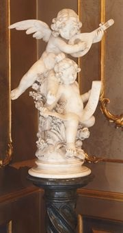 two music-making cherubs, on pedestal by italian school-florentine (20)
