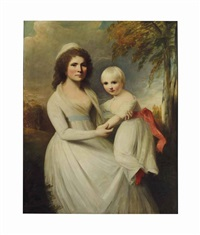 portrait of mrs. thomas sanderson and her daughter, in a landscape by george romney