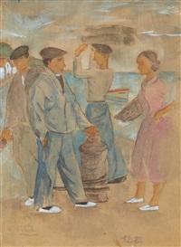 scène de port, les trois marins et femme en rose by ramiro arrue