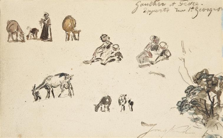 esquisse de chèvre et paysanne sketch by johan barthold jongkind