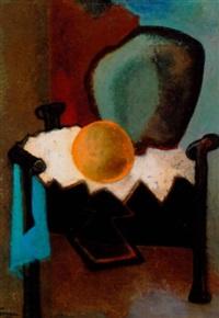 komposition med orange kugle by jean simian
