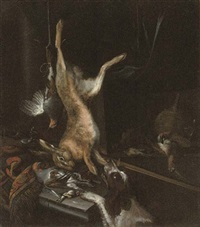 a game still life with a spaniel by dirk valkenburg