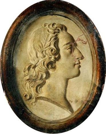 trompe loeil au bas relief représentant le profil de louis xv dans un encadrement en bois doré by jean baptiste siméon chardin