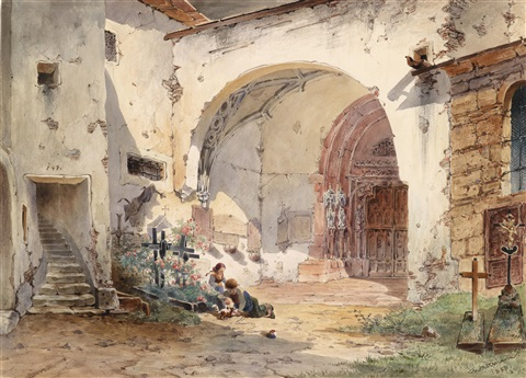 kinder vor dem nonnberg kloster by anton altmann the younger
