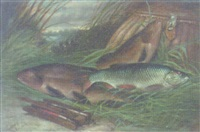 a pair of tench and a roach with creel on a reeded bank by a. harold smith