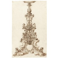 design for an elaborate candlestand by jacopo strada