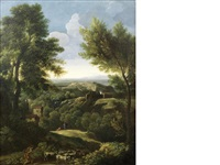 an italianate landscape with a shepherd and his flock in the foreground, in a carved giltwood frame by gaspard dughet