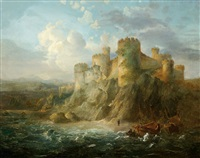 ships on a beach by a castle on a rock by johannes hilverdink