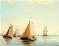 sailing boats on the water by johan coenraed leich