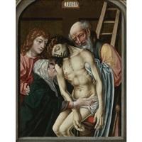 descent from the cross with the virgin, saint john the evangelist and joseph of arimathea by roger van der weyden