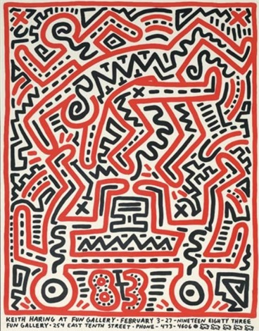 keith haring at fun gallery, exhibition poster by keith haring