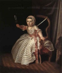 portraet af en lille pige med en rangle by niels rode