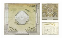 a design for a pagoda; les jardins anglois et chinois; and le palais bourbon, paris (3 works) by french school