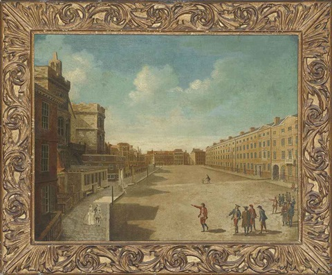 view of new palace yard westminster with elegantly dressed figures in the foreground by samuel scott