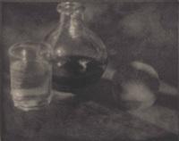 karaffe, glas und pfirsich by heinrich kühn