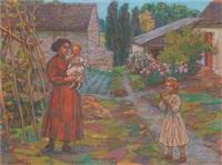madame peské et ses filles dans le jardin by jean misceslas peské