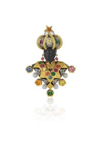 a gold, cultured pearl and gem-set blackamoor brooch by nardi