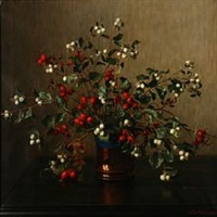 still life with rose hips and snowberries by wilhelm andersen