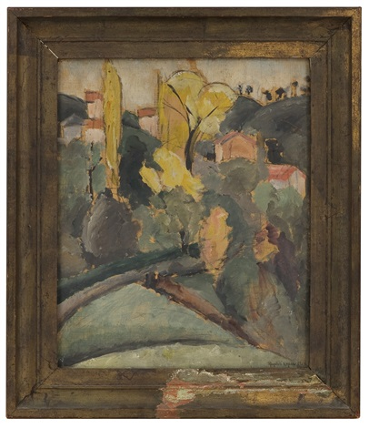 mediterranean landscape with houses by ragnhild keyser