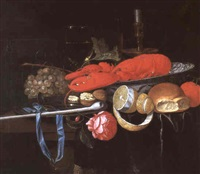 nature morte au homard by gillis jacobz van hulsdonck