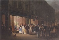 street scene with figures outside a milliners by george hepper