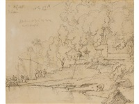 figures on steps beside a temple on a river shoreline by george chinnery