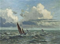 st. ives fishing boats in an offshore swell by frances tysoe smith