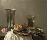 a silver beaker, a herring on a pewter plate, a wan-li bowl with olives and a roemer, all on a partially draped table by cornelis cruys