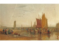 a view of fisherfolk on a shoreline by edward duncan