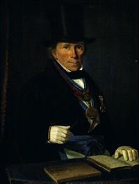portrait du maître de la loge de kölin en habit maçonnique by ferdinand hauptner