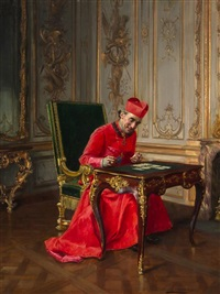 portrait of a cardinal playing cards by françois brunery