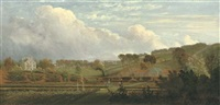 a kitchen garden, a house and outbuildings beyond (in hampstead?) by william tomkins