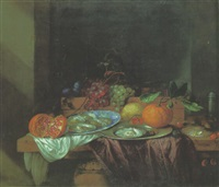 oysters on a wanli kraak porselain plate, fruits and oyster on a pewter plate with other fruits and objects on a table by david cornelisz heem iii