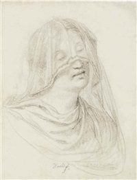 a veiled woman, bust-length by jacques-louis david