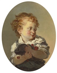 young boy holding cherries by jean honoré fragonard