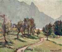landschaft am attersee by franz glaubacker