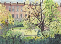 view of no. 65 (the artist's home) and no. 66 fitzwilliam square, dublin by kitty wilmer o'brien