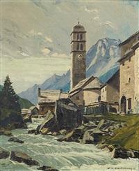 l'église du casset, hautes alpes by charles henry contencin