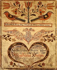 fraktur decorated copybook for magdalena kratz by johann adam eyer