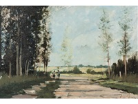 figures on a country lane by roy petley