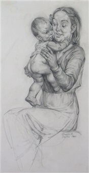 a soft embrace, mother and child (+ female nude; 2 works) by charles cameron baillie