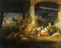 intérieur de ferme avec des animaux de basse-cour, des enfants jouant et leurs parents by jacques-albert senave